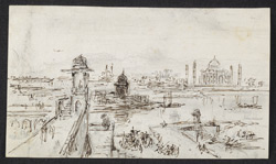 View of the Taj Mahal from Agra Fort (U.P.). c. 24 January 1789
